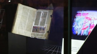 A holographic showcase augmenting an ancient manuscript (Copyright EPFL)